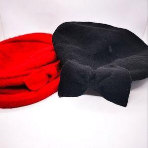 Laura Ashley Beret black French doll Beret hat vintage 100% wool